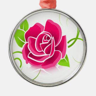 Het gloeien Roze nam toe Zilverkleurig Rond Ornament