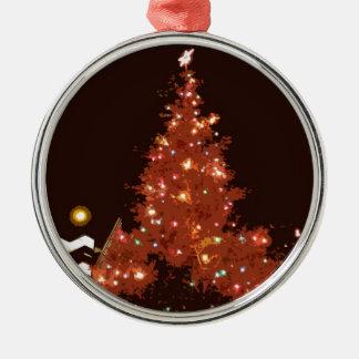 Het Gloeien van Kerstmis Zilverkleurig Rond Ornament