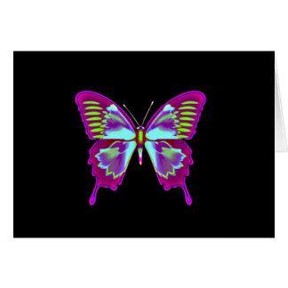 Het gloeien Vlinder op Zwarte Achtergrond Kaart