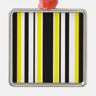Het gloeien Zebra Zilverkleurig Vierkant Ornament