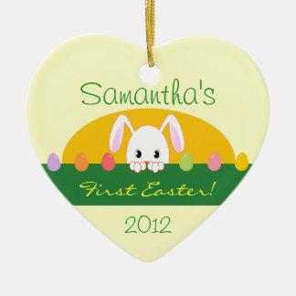 Het Gluren van de eerste Pasen Konijntje Keramisch Hart Ornament