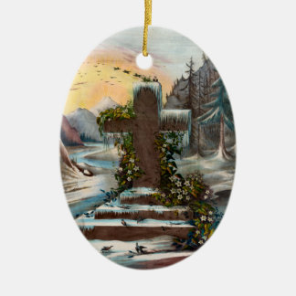 Het godsdienstige Kruis van Kerstmis in de Winter Keramisch Ovaal Ornament