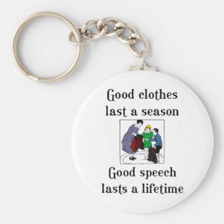 Het goede Spreuk van de School van de Toespraak Basic Ronde Button Sleutelhanger