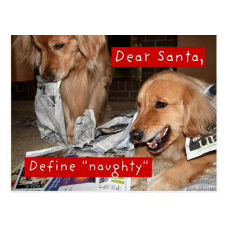 Het golden retriever bepaalt Ongehoorzame Kerstmis Briefkaart
