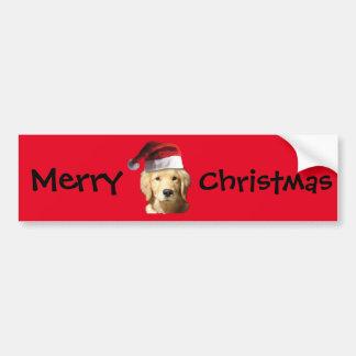 Het Golden retriever van Kerstmis Bumpersticker