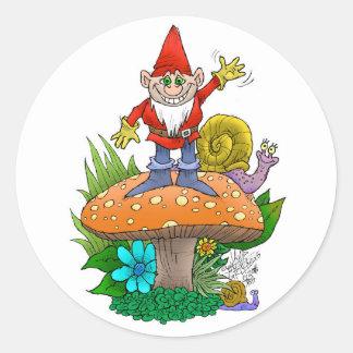 Het golven Gnome.jpg Ronde Sticker