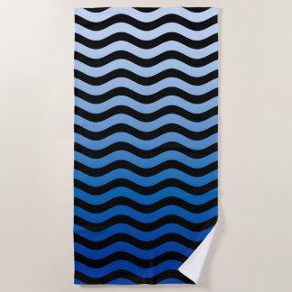 Het golvende Blauwe Decor van Strepen op a Strandlaken