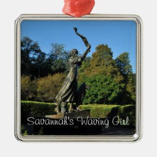 Het Golvende Meisje van de savanne Zilverkleurig Vierkant Ornament