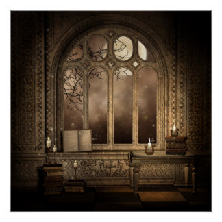 Het gotische Poster van het Venster van de Bibliot