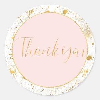 Het goud bloost Roze ploetert dankt u Ronde Sticker