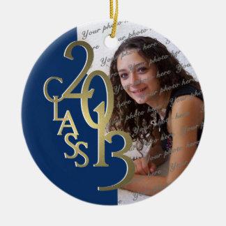 Het Goud en het Blauw van de Foto van de Rond Keramisch Ornament