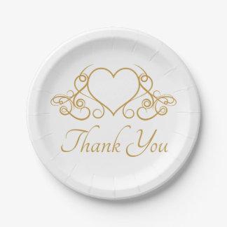 Het goud en het Wit danken u houden van de Partij Papieren Bordje