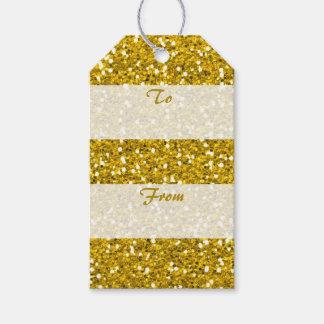 Het goud schittert aan van Vrolijke Kerstmis Cadeaulabel