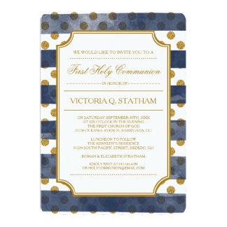 Het goud schittert de Eerste Heilige Communie van 12,7x17,8 Uitnodiging Kaart