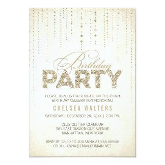 Het goud schittert de Partij van de Verjaardag van 12,7x17,8 Uitnodiging Kaart