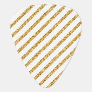 Het goud schittert en het Witte Diagonale Patroon Gitaar Plectrum 0