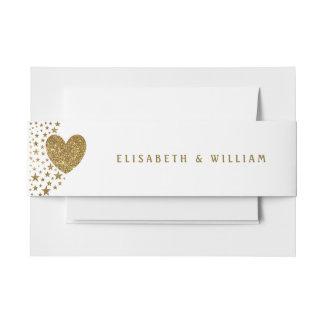 Het goud schittert Hart en het Huwelijk van Uitnodigingen Wikkel