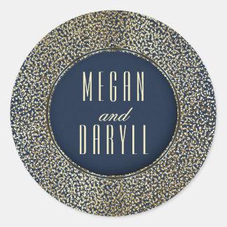 Het goud schittert het Vintage Huwelijk van de Ronde Sticker