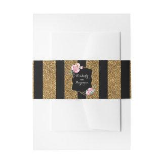 Het goud schittert Strepen en het Roze Elegante Uitnodigingen Wikkel