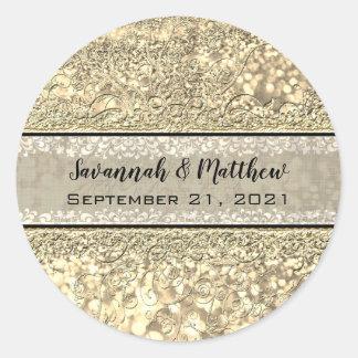 Het Goud van Champagne schittert Verbinding van Ronde Sticker