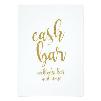 Het Goud van de Bar van het contante geld 12,7x17,8 Uitnodiging Kaart