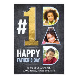 Het Goud van de Papa van het vaderdag #1 12,7x17,8 Uitnodiging Kaart