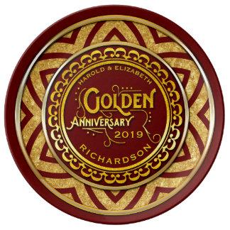 Het Goud van het Jubileum van de gouden bruiloft Borden Van Porselein