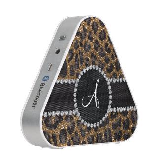 Het goud van het monogram schittert luipaard luidspreker