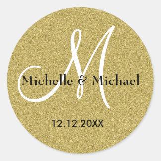Het Goud van het Monogram van de bruid en van de Ronde Sticker