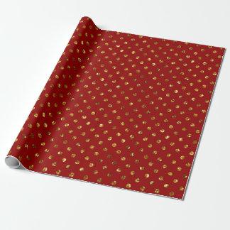 Het Goud van Kerstmis schittert het Rode Inpakpapier