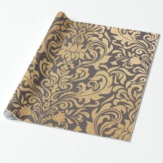 Het goud wervelt damast inpakpapier