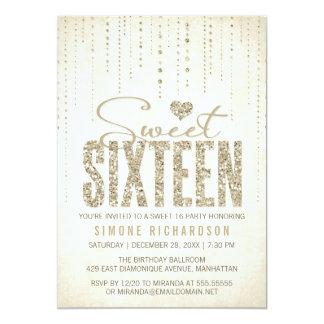 Het goud Zoete (Zestien) Partij 16 schittert van 12,7x17,8 Uitnodiging Kaart