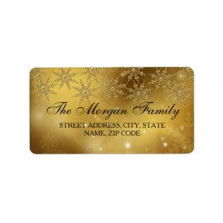Het gouden Adresetiket van Kerstmis van de Etiket