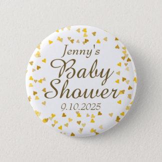 Het gouden Baby shower van Harten/bestrooit Gunst Ronde Button 5,7 Cm