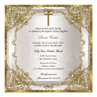 Het gouden Beige DwarsDoopsel/het Doopsel van het 13,3x13,3 Vierkante Uitnodiging Kaart