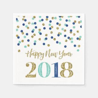 Het gouden Blauw schittert het Gelukkige Nieuwjaar Papieren Servetten