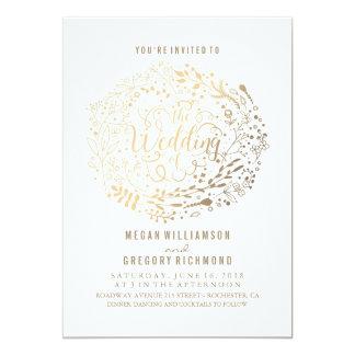 Het gouden Bloemen Elegante Moderne Huwelijk van Kaart