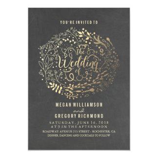 Het gouden Bloemen Elegante Vintage Huwelijk van Kaart