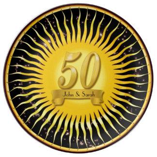 Het gouden Bord van het Porselein van het Jubileum Porseleinen Bordjes