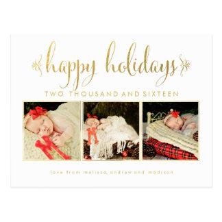 Het gouden Briefkaart van de Foto van 1st Kerstmis
