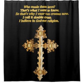 Het gouden Christelijke kruis van de Pret met Douchegordijn