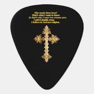 Het gouden Christelijke kruis van de Pret met Gitaar Plectrums 0
