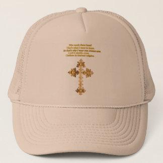 Het gouden Christelijke kruis van de Pret met Trucker Pet