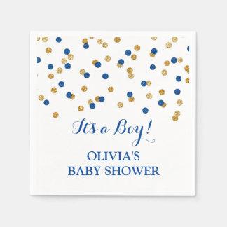 Het gouden Donkere Marineblauwe Baby shower van Wegwerp Servetten