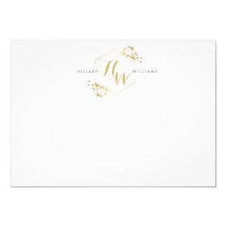 Het gouden Embleem Vlakke Notecard van het Kaart