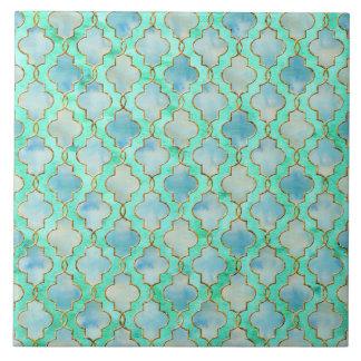 Het gouden en Groene patroon Maroccan van Aqua Tegeltje