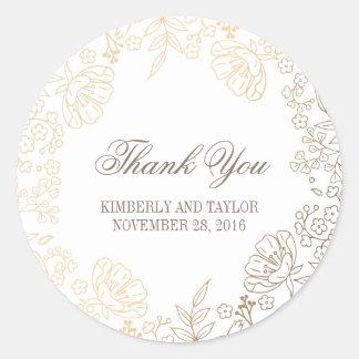 Het gouden en Witte Bloemen Vintage Huwelijk dankt Ronde Sticker