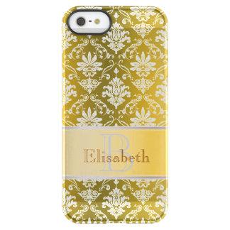 Het Gouden Gele en Witte Damast van het monogram Permafrost iPhone SE/5/5s Hoesje