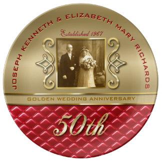 Het gouden Gewatteerde Rode Leer van het Jubileum Porseleinen Bord