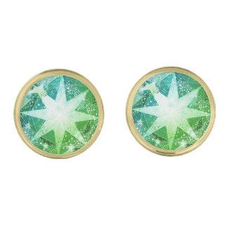 Het gouden Groene Bergkristal van de Halfedelsteen Vergulde Manchetknopen